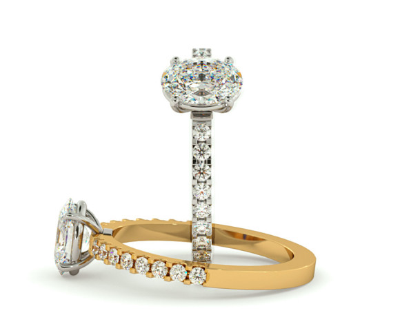 Oval Shoulder Diamond Ring - HRXSD651 - 360 animation