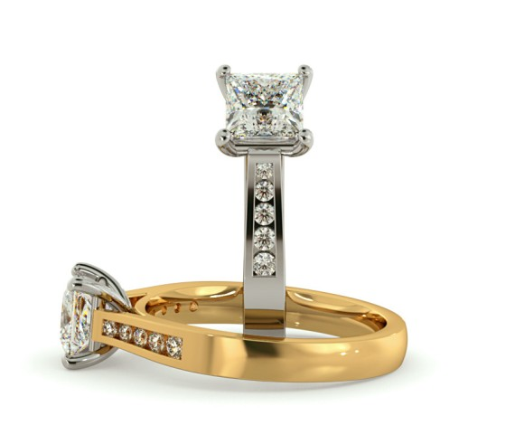 4 Prong Princess cut Shoulder Diamond Ring - HRXSD653 - 360 animation