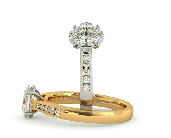 Oval Shoulder Diamond Ring - HRXSD654 - 360 animation