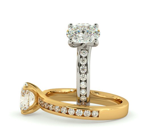 Oval Shoulder Diamond Ring - HRXSD656 - 360 animation