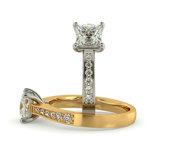 Four Prongs Princess cut Grain Set Shoulder Diamond Ring - HRXSD659 - 360 animation