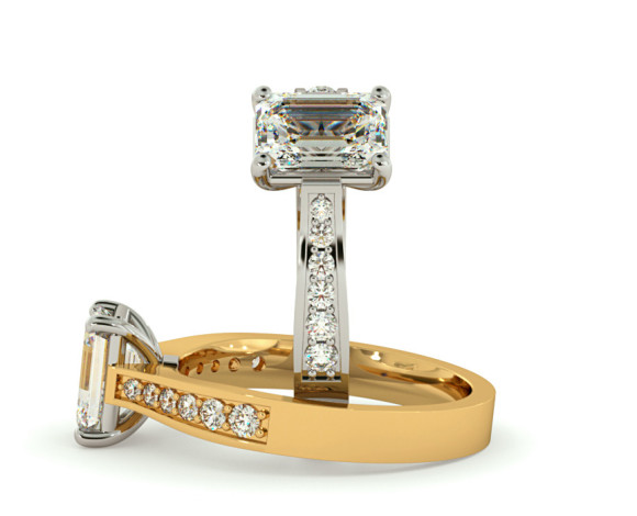Emerald cut Diamond Ring with Grain Set Accent Stones - HRXSD670 - 360 animation