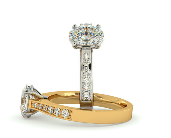 Oval Shoulder Diamond Ring - HRXSD671 - 360 animation