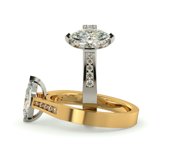Marquise Shoulder Diamond Ring - HRXSD674 - 360 animation