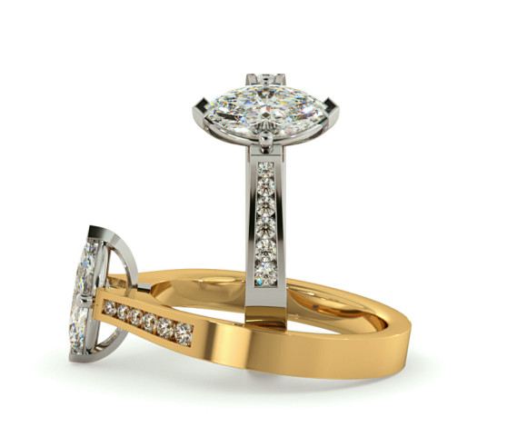 Marquise Shoulder Diamond Ring - HRXSD676 - 360 animation