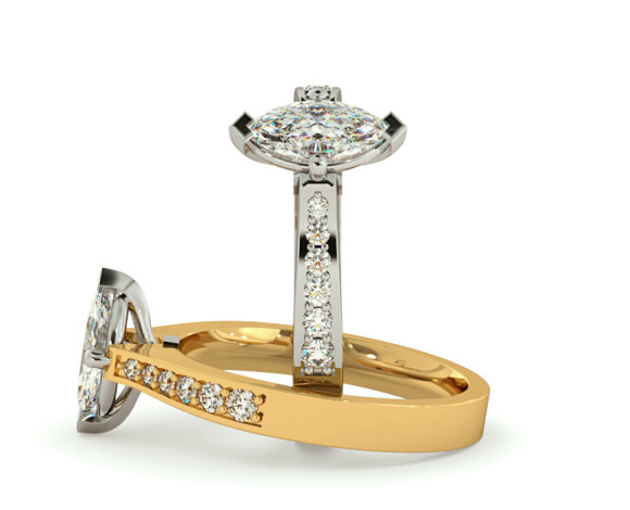 Marquise Shoulder Diamond Ring - HRXSD677 - 360 animation