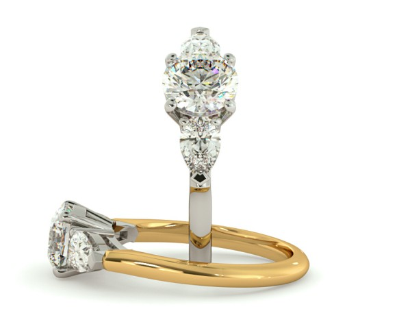 Round & Pear 3 Stone Diamond Ring - HRXTR100 - 360 animation