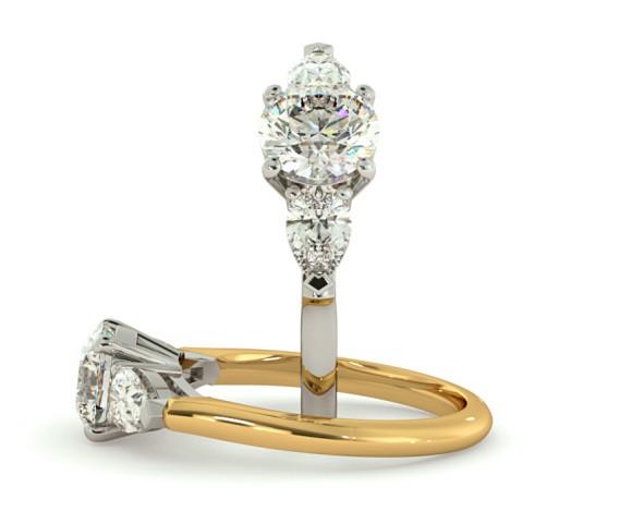 Round & Pear 3 Stone Diamond Ring - HRXTR100 - 360 animation
