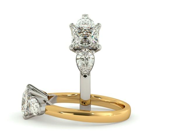 Princess & Pear 3 Stone Diamond Ring - HRXTR117 - 360 animation