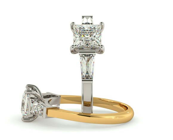 Princess & Baguettes 3 Stone Diamond Ring - HRXTR123 - 360 animation