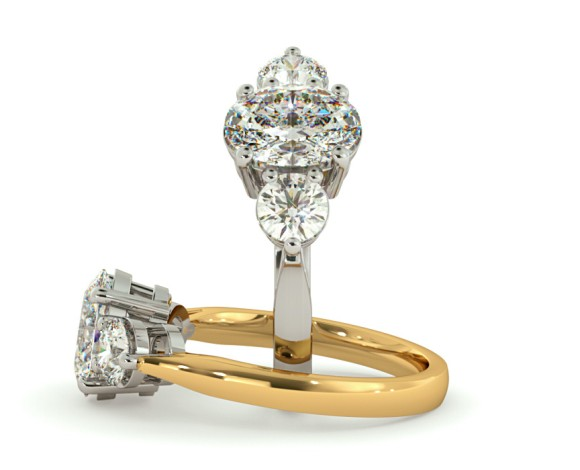 Oval & Round 3 Stone Diamond Ring - HRXTR124 - 360 animation