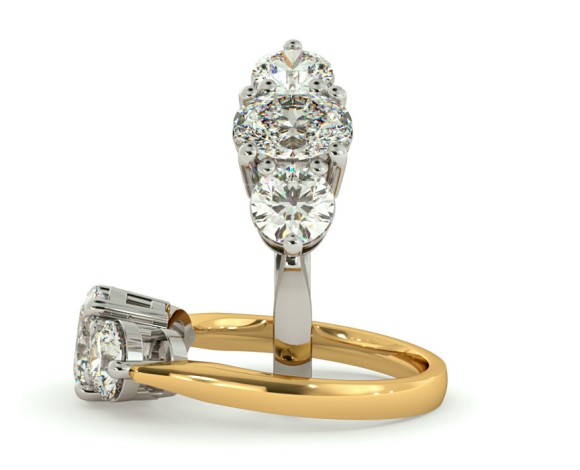 Oval & Round 3 Stone Diamond Ring - HRXTR125 - 360 animation