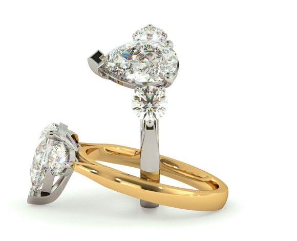 Pear & Round 3 Stone Diamond Ring - HRXTR129 - 360 animation