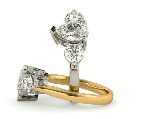 Pear & Round 3 Stone Diamond Ring - HRXTR132 - 360 animation
