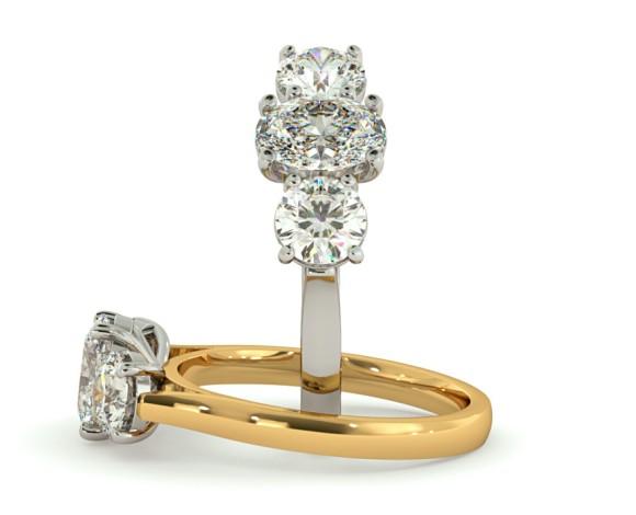 Oval & Round 3 Stone Diamond Ring - HRXTR137 - 360 animation