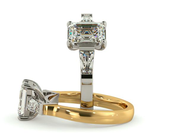 Emerald & Baguettes 3 Stone Diamond Ring - HRXTR138 - 360 animation