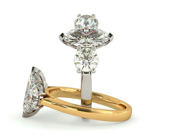 Marquise & Round 3 Stone Diamond Ring - HRXTR142 - 360 animation