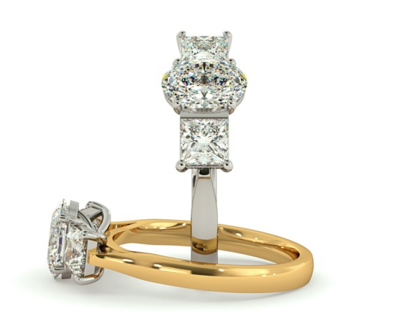 Oval & Princess 3 Stone Diamond Ring - HRXTR143 - 360 animation