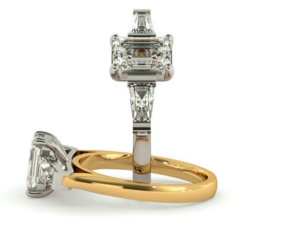 Emerald & Baguettes 3 Stone Diamond Ring - HRXTR145 - 360 animation