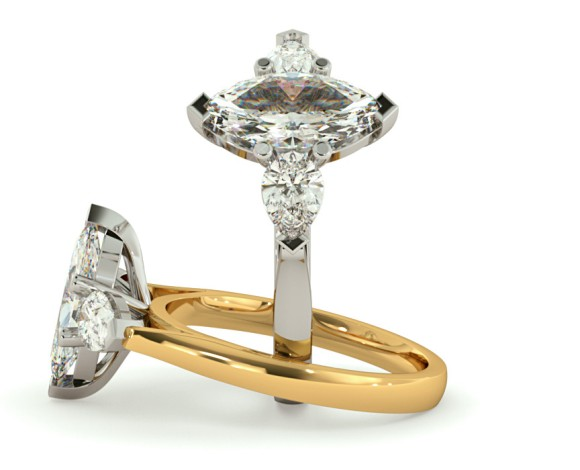 Marquise & Pear 3 Stone Diamond Ring - HRXTR147 - 360 animation