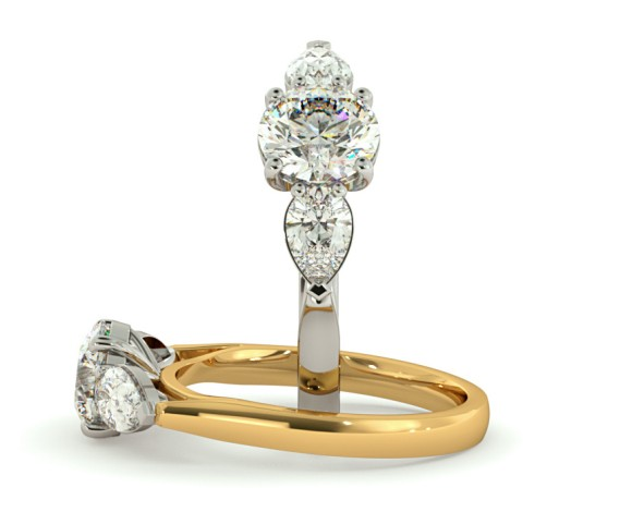 Round & Pear 3 Stone Diamond Ring - HRXTR153 - 360 animation