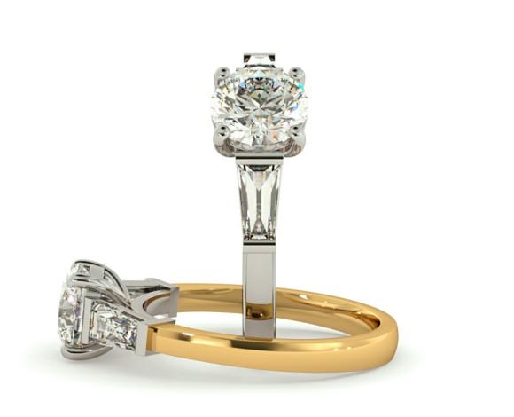 Round & Baguettes 3 Stone Diamond Ring - HRXTR157 - 360 animation