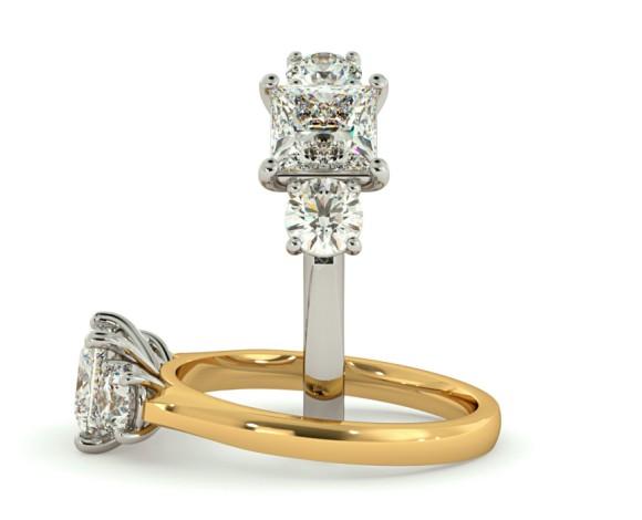 Princess & Round 3 Stone Diamond Ring - HRXTR164 - 360 animation