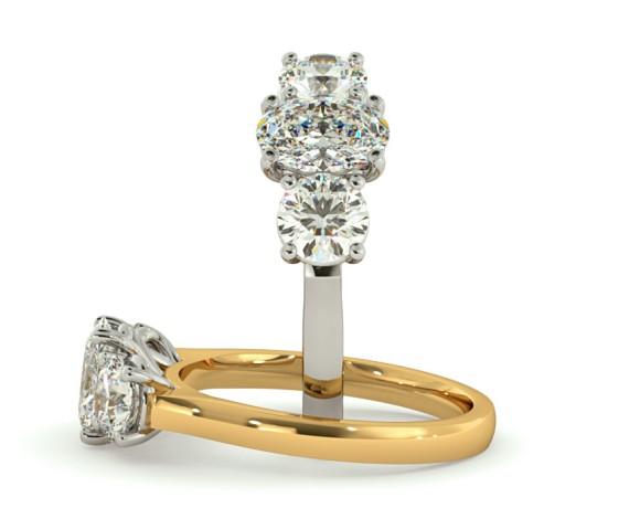 Oval & Round 3 Stone Diamond Ring - HRXTR165 - 360 animation