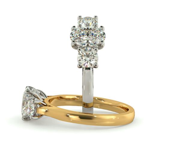 Oval & Round 3 Stone Diamond Ring - HRXTR170 - 360 animation
