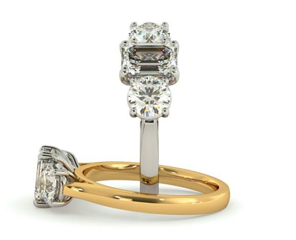 Emerald & Round 3 Stone Diamond Ring - HRXTR171 - 360 animation