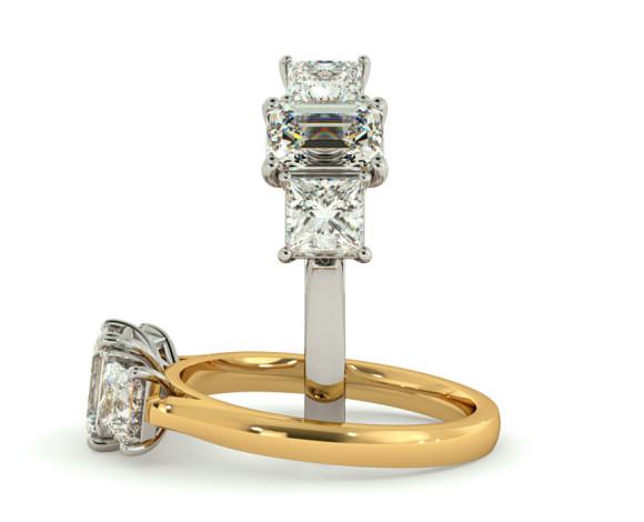 Emerald & Princess 3 Stone Diamond Ring - HRXTR173 - 360 animation