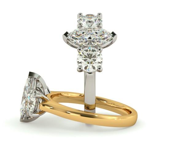 Marquise & Round 3 Stone Diamond Ring - HRXTR174 - 360 animation