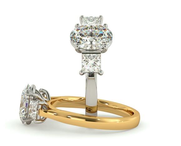 Oval & Princess 3 Stone Diamond Ring - HRXTR179 - 360 animation