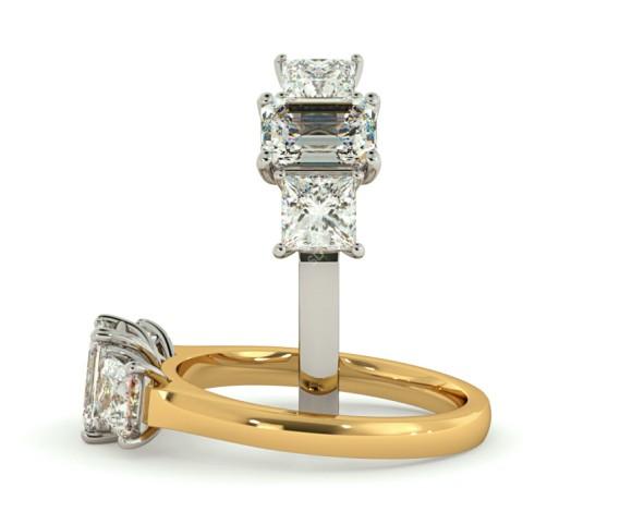 Emerald & Princess 3 Stone Diamond Ring - HRXTR185 - 360 animation