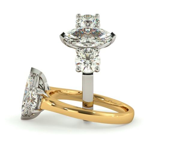 Marquise & Round 3 Stone Diamond Ring - HRXTR186 - 360 animation