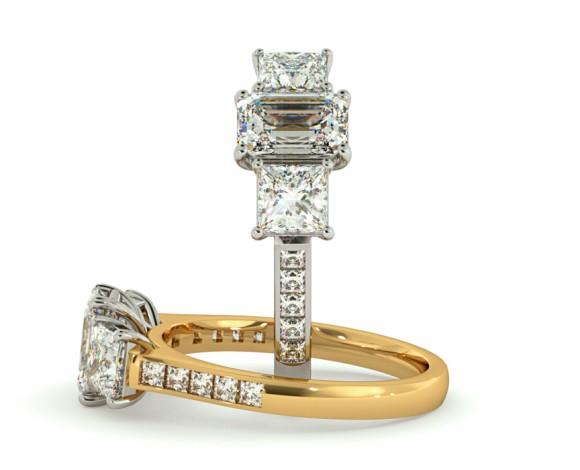 Emerald & Princess 3 Stone Diamond Ring - HRXTR191 - 360 animation
