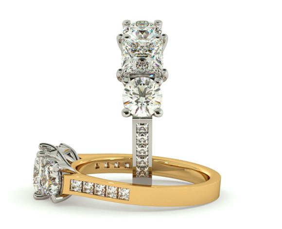 Princess Three Stone Diamond Ring - HRXTR194RN0843-C - 360 animation
