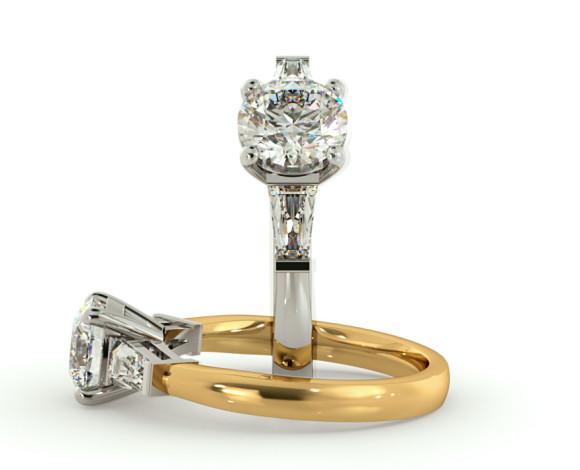 Round & Baguettes 3 Stone Diamond Ring - HRXTR94 - 360 animation