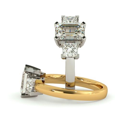 Emerald & Princess 3 Stone Diamond Ring - HRXTR96 - 360 animation