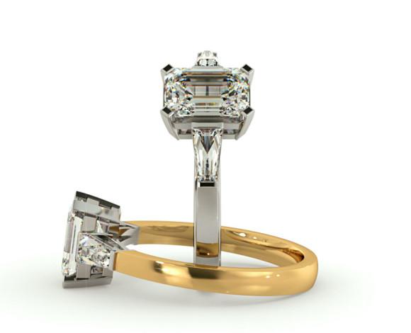Emerald & Baguettes 3 Stone Diamond Ring - HRXTR98 - 360 animation