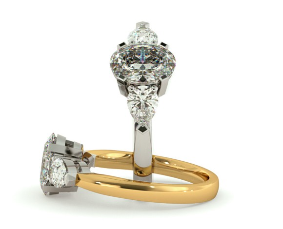 Oval & Pear 3 Stone Diamond Ring - HRXTR99 - 360 animation