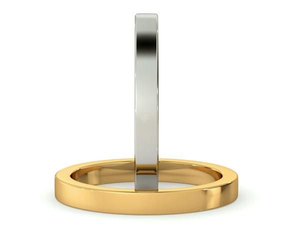Flat Wedding Ring - 2.5mm width, Medium depth - HWNA2517 - 360 animation