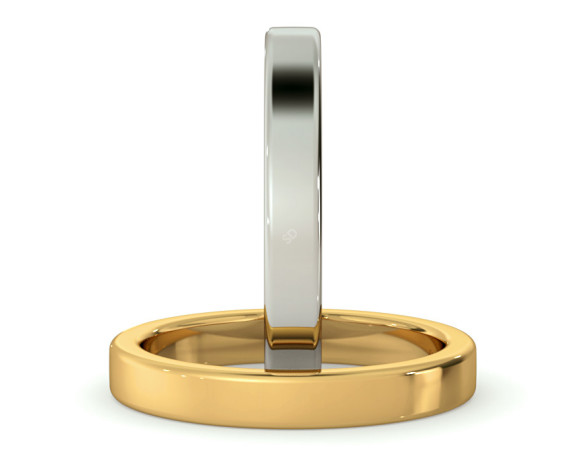Flat Wedding Ring - 3mm width, Medium depth - HWNA317 - 360 animation