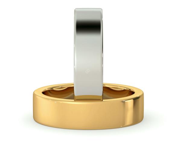 Flat Wedding Ring - 5mm width, Medium depth - HWNA517 - 360 animation