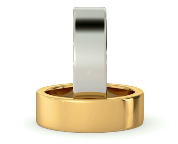 Flat Wedding Ring - 6mm width, Medium depth - HWNA617 - 360 animation