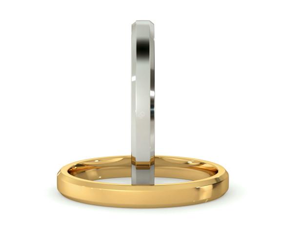 Bevelled Edge Wedding Ring - 2.5mm width, 1.4mm depth - HWNB2513 - 360 animation