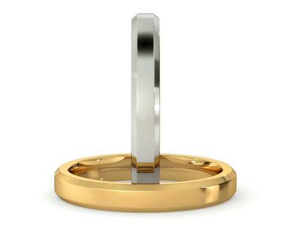Bevelled Edge Wedding Ring - 3mm width, 1.8mm depth - HWNB317 - 360 animation