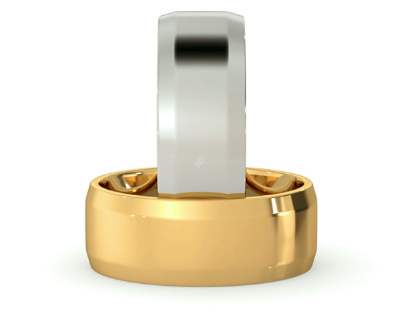 Bevelled Edge Wedding Ring - 7mm width, 1.4mm depth - HWNB713 - 360 animation