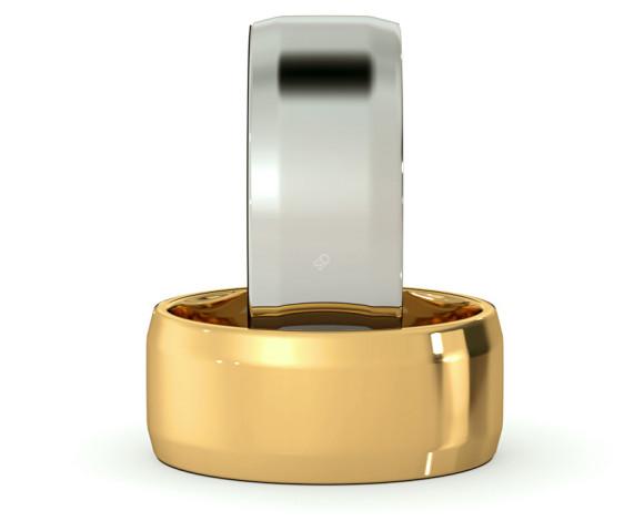 Bevelled Edge Wedding Ring - 8mm width, 1.4mm depth - HWNB813 - 360 animation