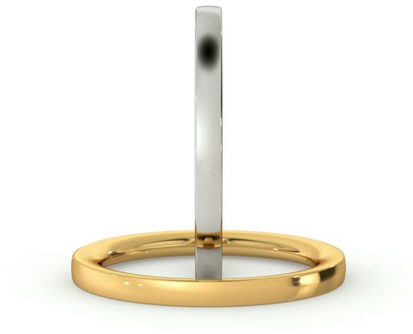 Flat Court Wedding Ring - Heavy weight, 2mm width - HWNC221 - 360 animation